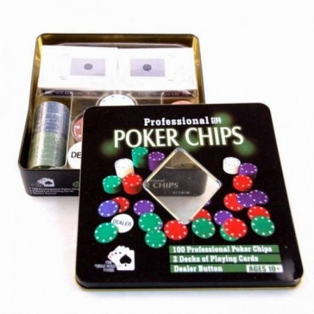Набор для покера на 100 фишек Техасский холдем, номинал 1-25. 4g-chips