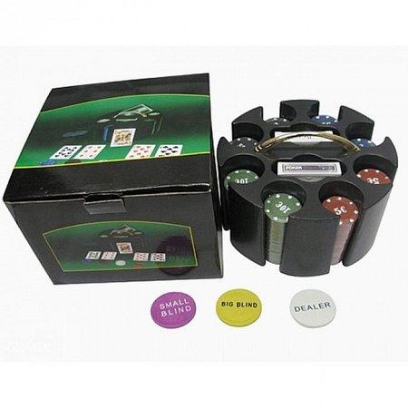 Покерный набор на 200 фишек c номиналом 1-25 в барабане. 4g-chips