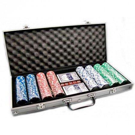 Покерный набор на 400 фишек без номинала в серебристом кейсе. 11,5g-chips China Games