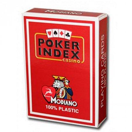Пластиковые карты для покера Modiano Poker Index Red