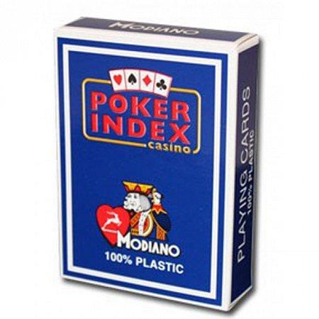 Пластиковые карты для покера Modiano Poker Index Blue