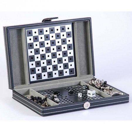 Дорожный игровой набор 3 в 1, в кожаном кейсе (шахматы, шашки, нарды).20х13х3см. SG 1150