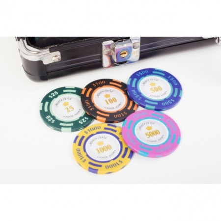 Покерный набор на 300 фишек с номиналом (25-5000), 300 Premium. 14g-chips