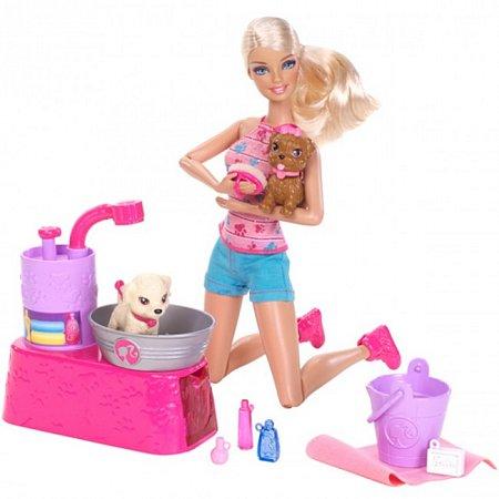 Кукла Барби с набором Купание щенков