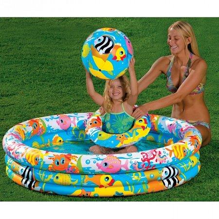 Бассейн детский Fishbowl с кругом и мячом. Intex 59469