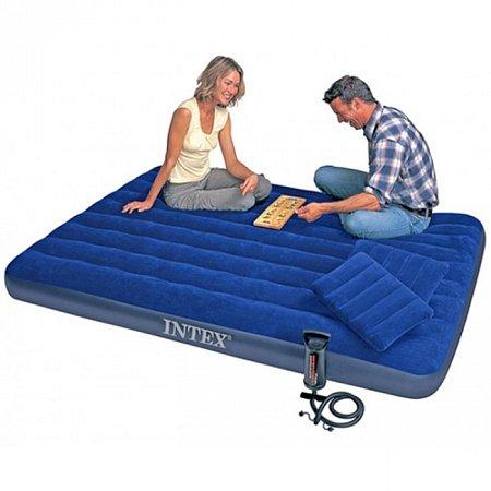 Надувной матрас с подушками и насосом. Intex 68765