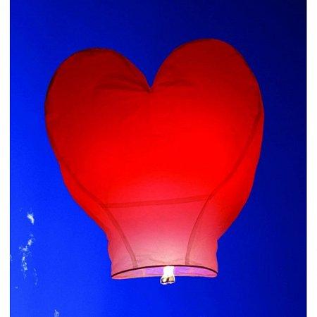 Китайский небесный фонарик, форма - сердце, большой