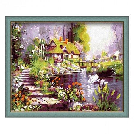 Раскраска по номерам Дом у пруда (40х50), Color Kit CG035