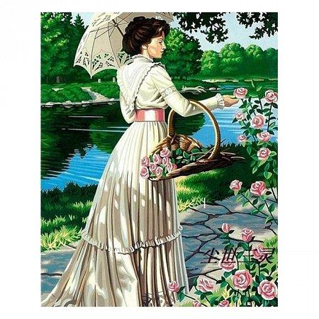 Раскраска по номерам Дама с розами (40х50), Color Kit CG082