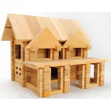 Деревянный конструктор Домик с балконом, 136 деталей