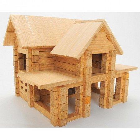 Деревянный конструктор Домик с мансардой, 126 деталей