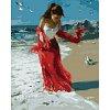 Алый шарф, Серия Люди, рисование по номерам, 40 х 50 см, Идейка, Прогулка по пляжу (KH1059)