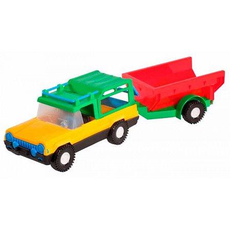 Авто-сафари с красным прицепом - машинка, Wader, зеленый прицеп, 39006-1