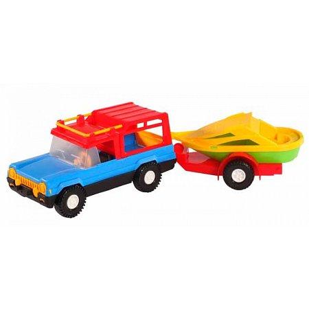 Авто-сафари с прицепом и лодочкой - машинка, Wader, прицеп с лодочкой, 39006-3