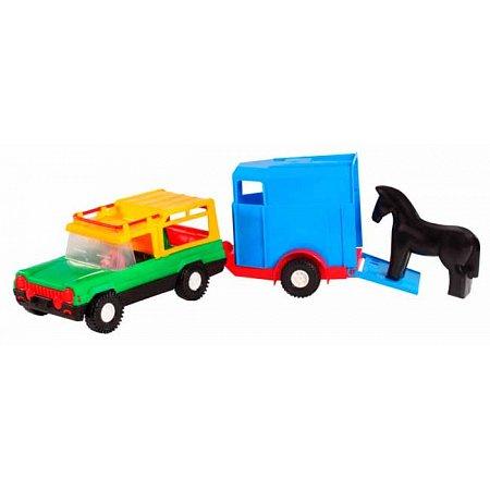 Авто-сафари с прицепом и лошадкой - машинка, Wader, прицеп с лошадкой, 39006-2