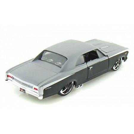Автомодель (1:24) 1966 Chevrolet Chevelle SS 396 чёрно-серый металлик - тюнинг, Maisto 31333 black/grey