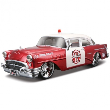 Автомодель (1:26) 1955 Buick Century (Rescue Force) (тюнинг). Maisto 31341 red-white