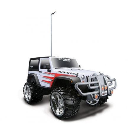 Автомодель на р/у (1:16) Jeep Wrangler Rubicon (акум. 6v + 2хАА), бело-красный, Maisto 81098 white/red