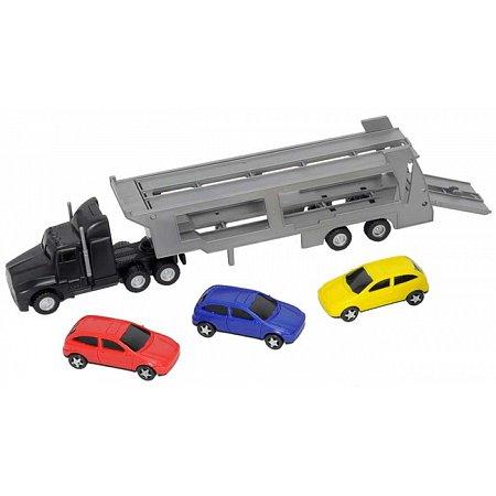 Автотранспортер (черный) и 3 машинки, Dickie Toys, 374 6000-3