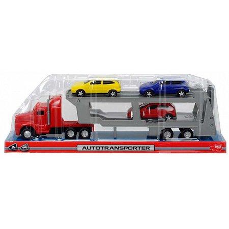 Автотранспортер (красный) и 3 машинки, Dickie Toys, 374 6000-1
