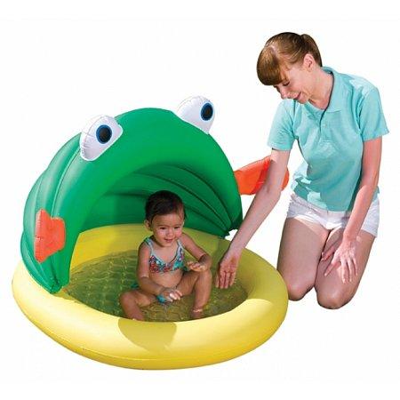 Бассейн детский надувной с навесом Лягушонок, Bestway 52162 (114x109 см)
