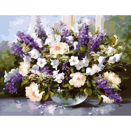 Большой букет в стеклянной вазе, Серия Букет, рисование по номерам, 40 х 50 см, Идейка, Большой букет в стеклянной вазе (KH1050)