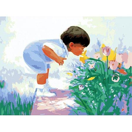 Будущий флорист, серия Дети, рисование по номерам, 40 х 50 см, Идейка, Будущий флорист (MG1029)