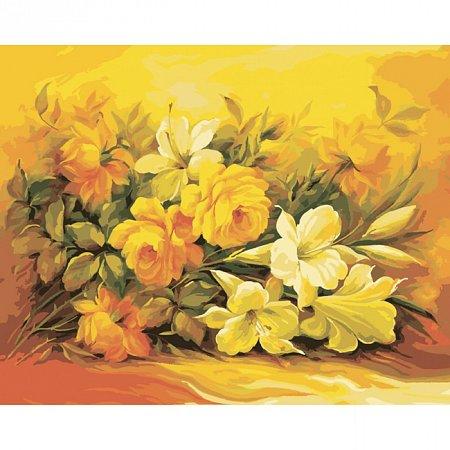 Букет в желтом цвете, Серия Букет, рисование по номерам, 40 х 50 см, Идейка, Букет в желтом цвете (KH2037)