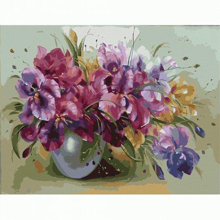 Букет ярких ирисов, серия Букет, рисование по номерам, 40 х 50 см, Идейка, KH1118