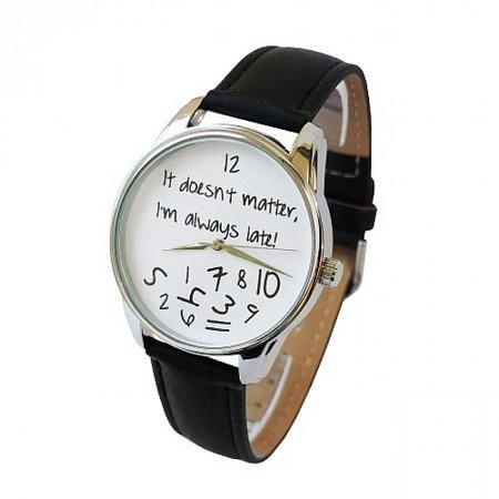 Часы наручные с рисунком - Always late бело-черные, ZIZ-25048