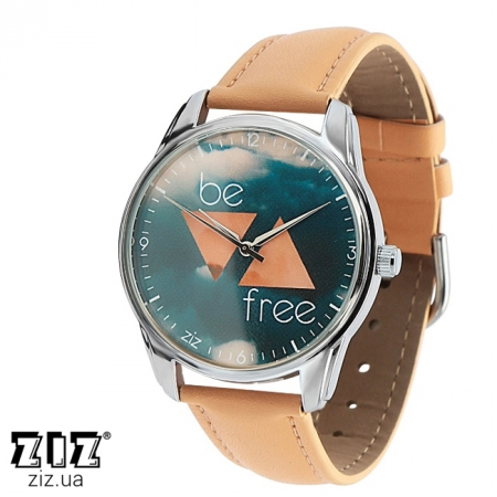 Часы наручные с рисунком Будь свободным кремовый, ZIZ-1413005