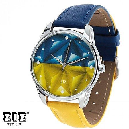 Часы наручные с рисунком Флаг треугольники желто-голубой, ZIZ-1415916