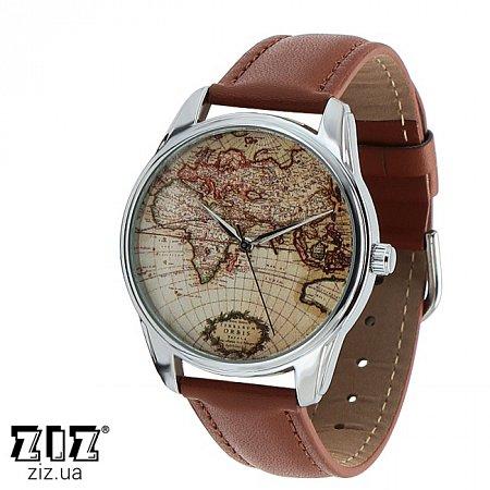 Часы наручные с рисунком Карта коричневый, ZIZ-1404303