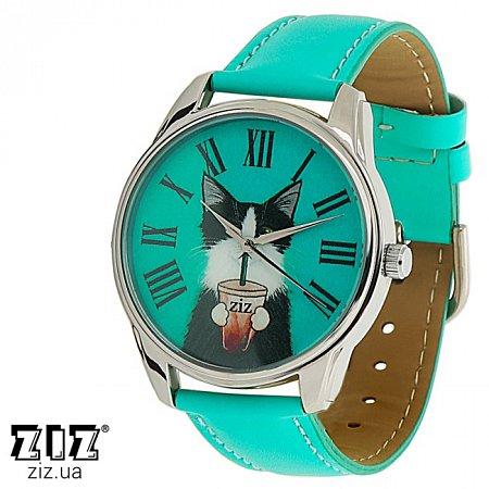 Часы наручные с рисунком Кот со стаканом, ZIZ-1414508