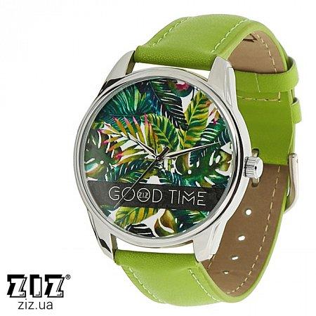 Часы наручные с рисунком Пальмовые листья зеленый, ZIZ-1412307