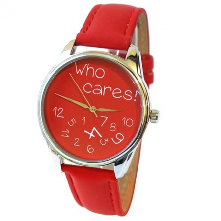 Часы наручные с рисунком - Who cares красные, ZIZ-25053