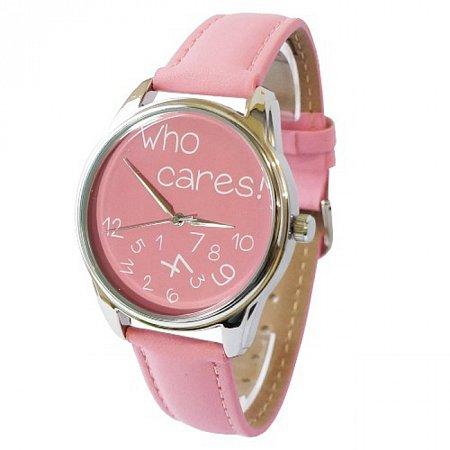 Часы наручные с рисунком - Who cares розовые, ZIZ-25055