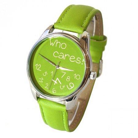 Часы наручные с рисунком - Who cares салатовый, ZIZ-25054