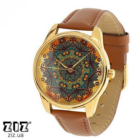Часы наручные с рисунком Золотые узоры коричневый, ZIZ-1414303