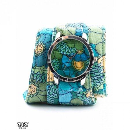Часы наручные (тканевый ремешок) Голубые цветочки, ZIZ-1700202