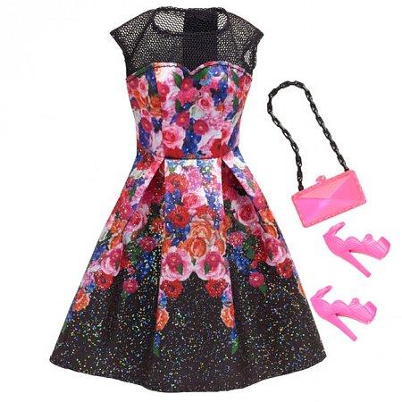Черное платье в цветах с аксессуарами, Barbie, Mattel, черное платье с цветами, CFX92-4