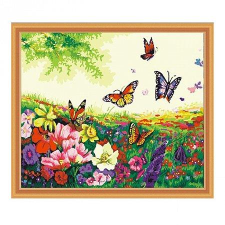 Цветочки и бабочки, серия Цветы, рисование по номерам, 40 х 50 см, Идейка, Цветы и бабочки (KH250)