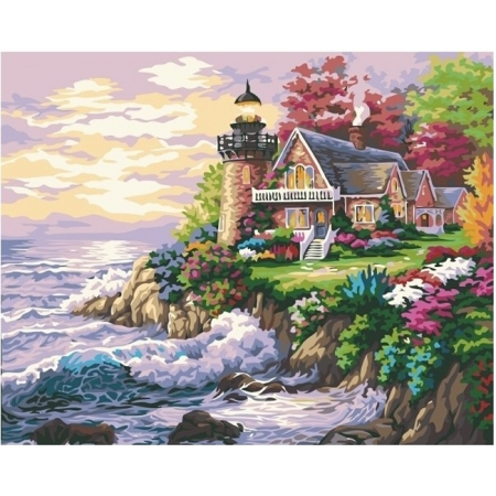 Домик возле маяка, серия Море, рисование по номерам, 40 х 50 см, Идейка, Домик возле маяка (KH115)