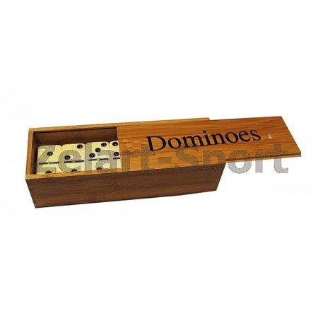 Домино в бамбук. футляре (настольная игра) IG-5008 (кости-пластик,h-4,7см, р-р футляра 18,5x6,5x4см)