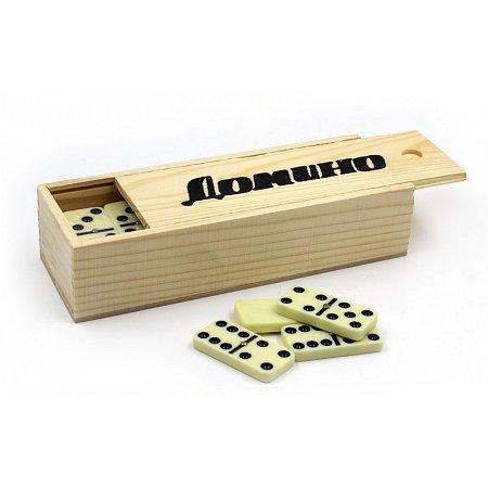Домино в дерев. футляре (настольная игра) IG-2318 (кости-пластик, h-4,5см, р-р футляра 18,5x6,5x4см)