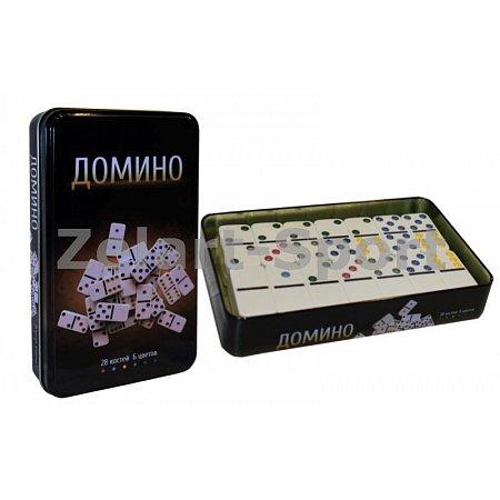 Домино в метал. футляре (настольная игра) IG-3974 (кости-пластик,h-4,3см, р-р футляра 19x11,5x3,5см)