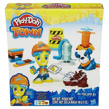 Дорожный рабочий и щенок - набор с пластилином Play-Doh Town, Play-Doh, Дорожний рабочий и щенок, B3411-1