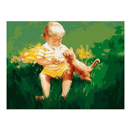 Два малыша, серия Дети, рисование по номерам, 40 х 50 см, Идейка, MG1027