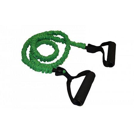 Эспандер трубчатый с ручками в защитном рукаве FI-4411-G (латек.жгут, d-6x12мм, l-120см, зеленый)