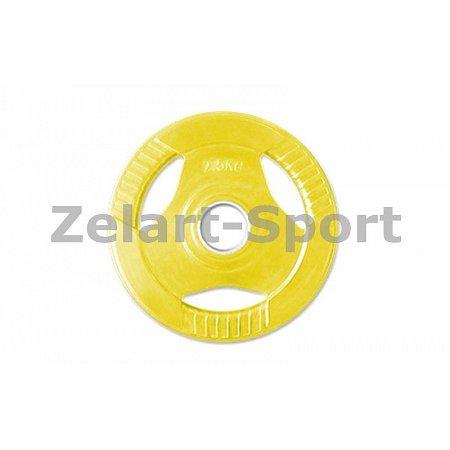 Фитнес памп (блины обрезиненные с хватом для штанги BP3031) 30мм 2,5кг PL26-2,5 (отв. d-30мм,желтый)